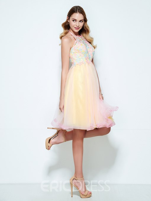 Ericdress Halter A-Line Appliques Knee-Length Homecoming Dress