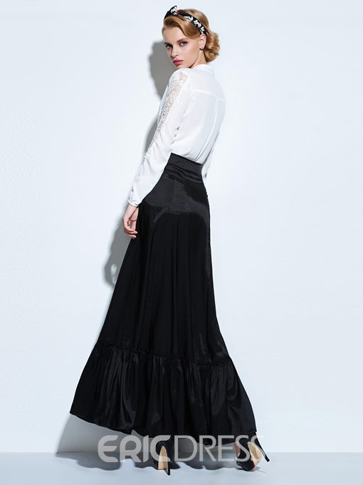 Ericdress Solid Color Patchwork Vintage Maxi Skirt
