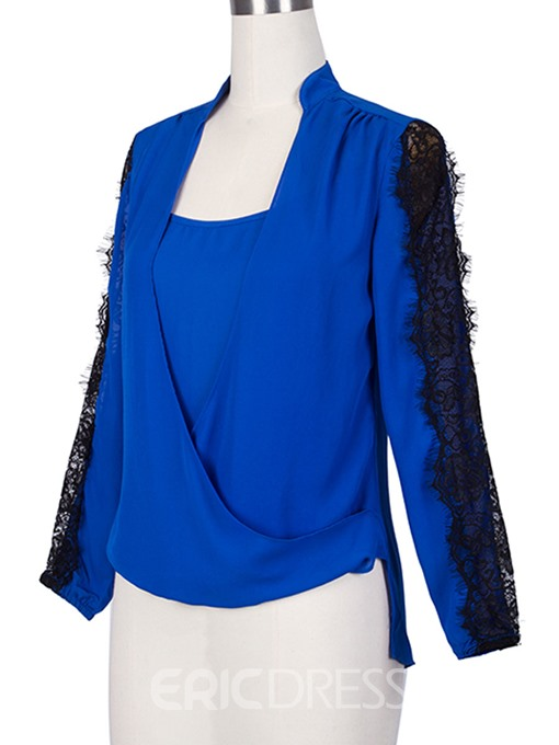 Ericdress Asymmetric Chiffon Lace Blouse