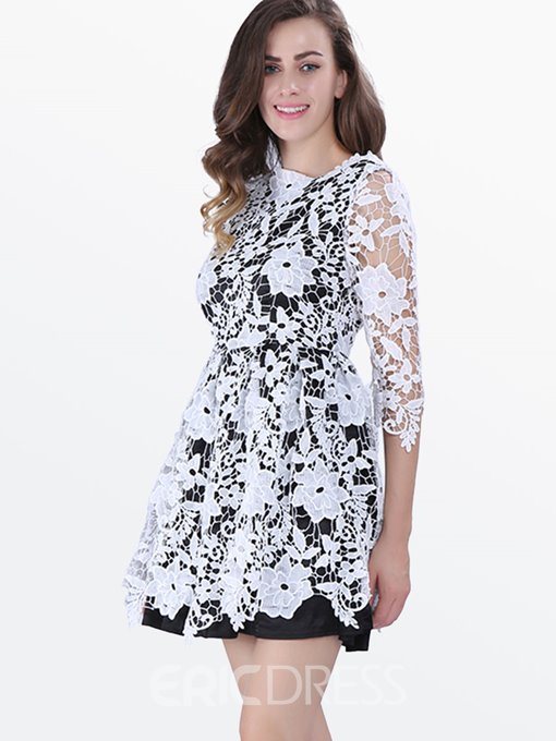 Ericdress Date Night Half Sleeve See-Through Lace Dress