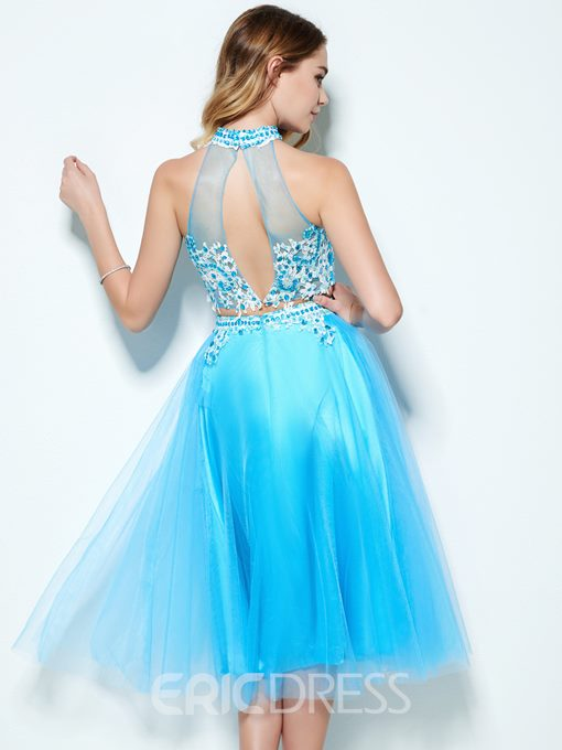Ericdress A-Line Halter Appliques Beading Lace Tea-Length Homecoming Dress