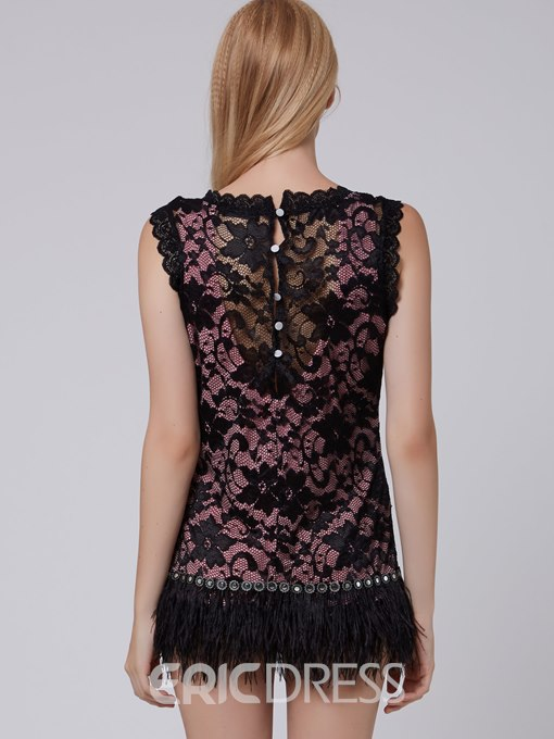 Ericdress Sleeveless Lace Zipper Bodycon Dress