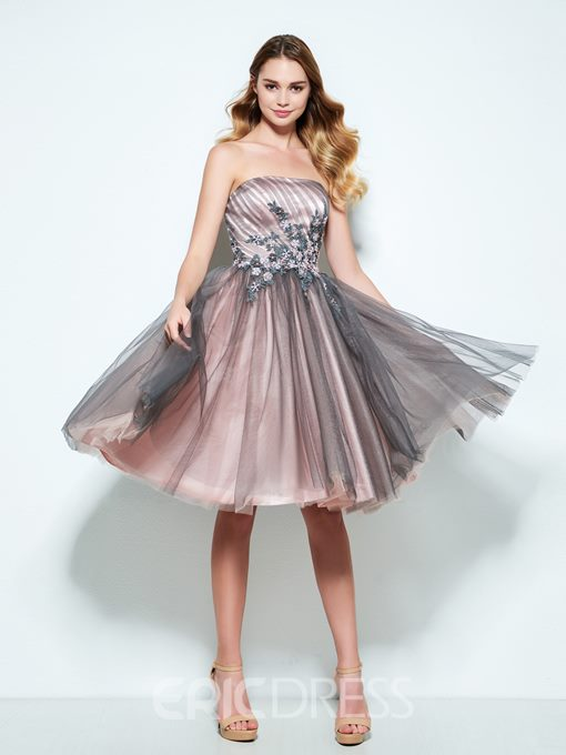 Ericdress A-Line Strapless Appliques Knee-Length Homecoming Dress