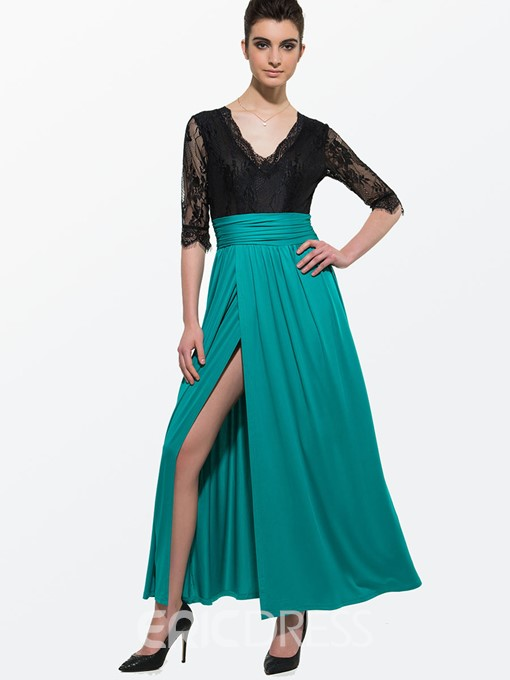 Ericdress Sexy European Lace Patchwork Maxi Dress