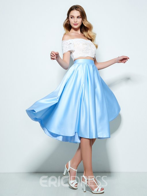 Ericdress A-Line Off-the-Shoulder Short Sleeves Lace Knee-Length Homecoming Dress