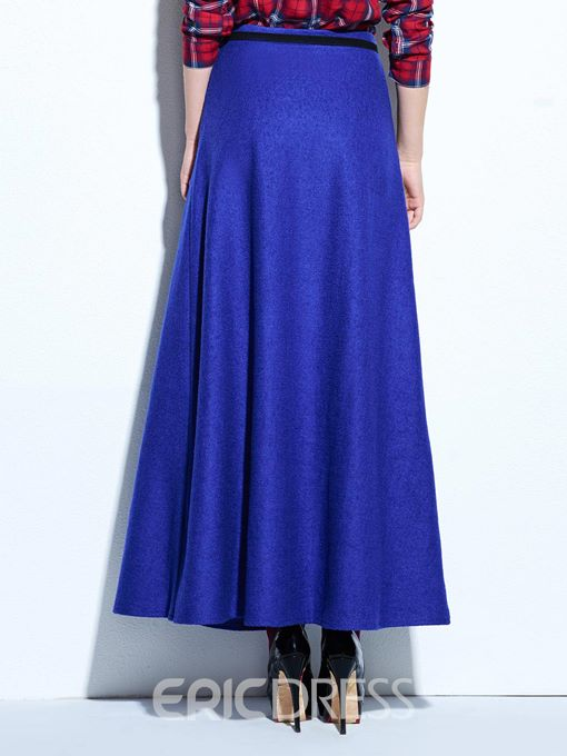 Ericdress Wool Blends Asymmetric Maxi Skirt