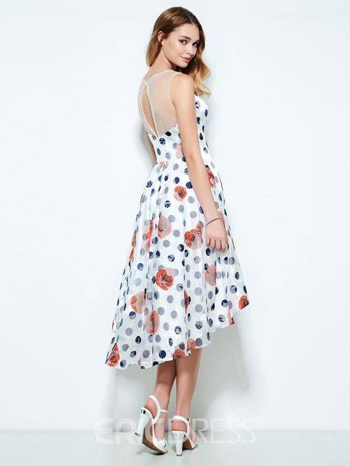 Ericdress Jewel Sheath Printed Asymmetry Homecoming Dress