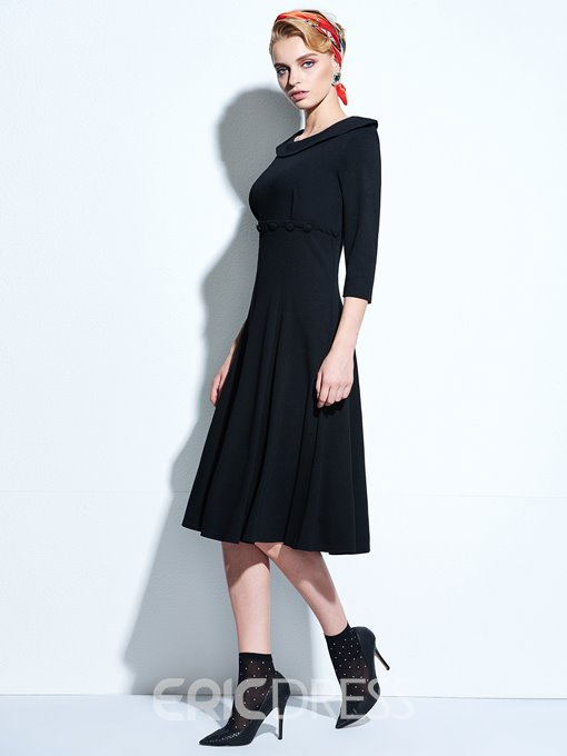 Ericdress Plain Three-Quarter Sleeve Vintage Casual Dress