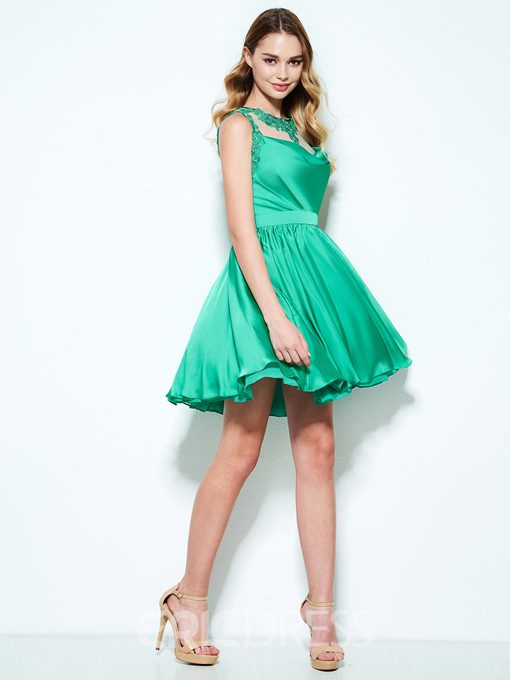 Ericdress A-Line Scoop Appliques Draped Short Homecoming Dress