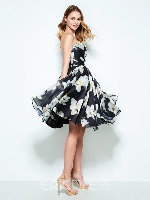 Ericdress A-Line Strapless Pleats Printed Knee-Length Homecoming Dress