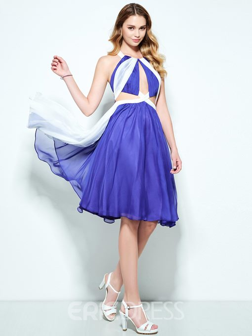 Ericdress A-Line Halter Hollow Pleats Knee-Length Homecoming Dress
