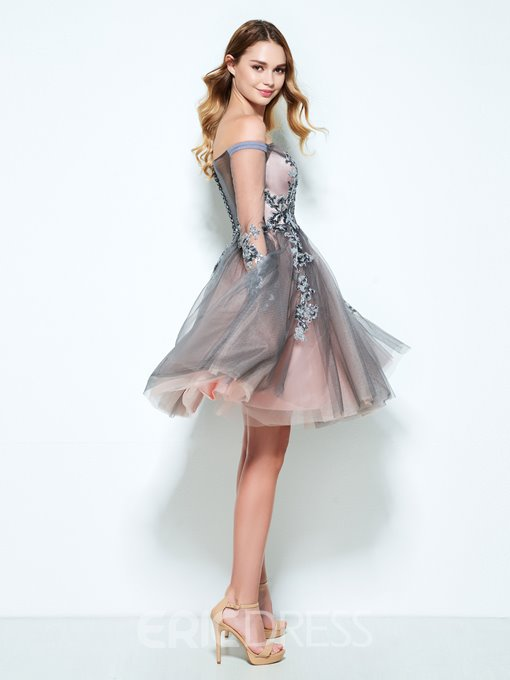 Ericdress Long Sleeves A-Line Off-the-Shoulder Appliques Sequins Short Homecoming Dress