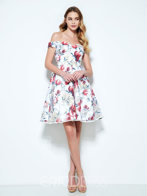 Ericdress A-Line Off-the-Shoulder Cap Sleeves Printed Short Cocktail Dress