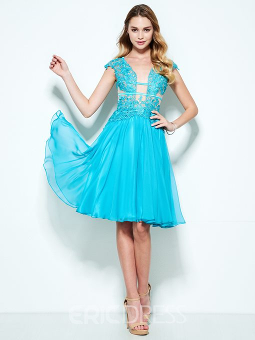 Ericdress A-Line V-Neck Appliques Knee-Length Cocktail Dress