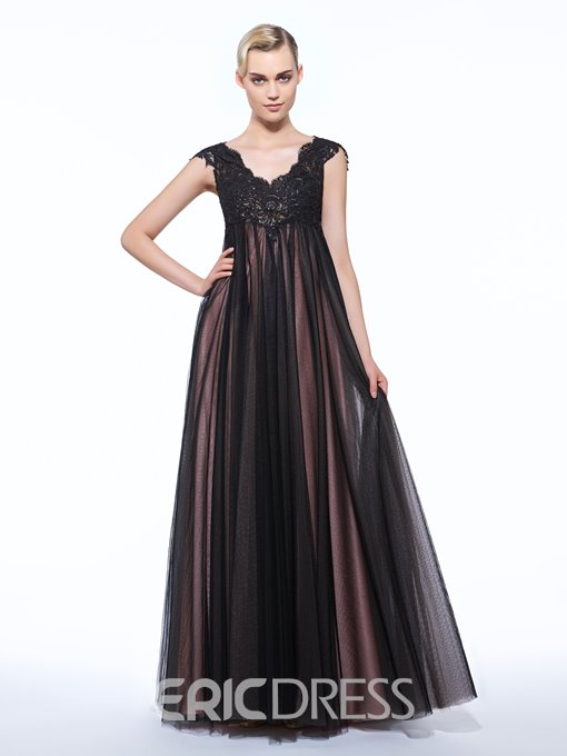 Ericdress A-Line V-Neck Cap Sleeves Appliques Sequins Floor-Length Evening Dress