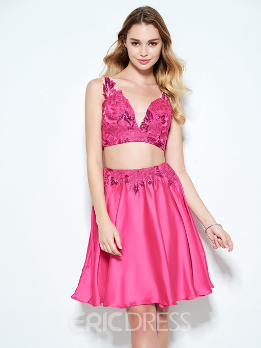 Ericdress A-Line V-Neck Appliques Button Sequins Short Homecoming Dress