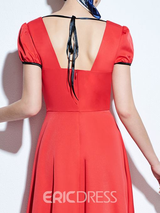 Ericdress Solid Color Patchwork Square Neck Casual Dress
