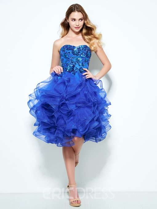 Ericdress A-Line Sweetheart Cascading Ruffles Sequins Knee-Length Homecoming Dress