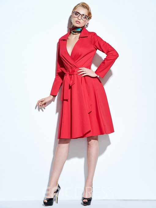 Ericdress Plain V-Neck Lace-Up Long Sleeve Casual Dress