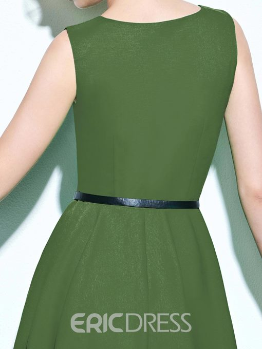 Ericdress Summer Solid Color Sleeveless Skater Casual Dress