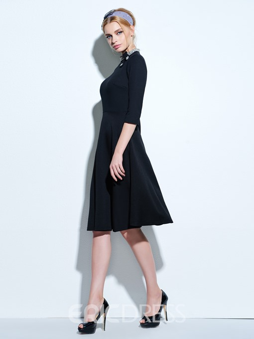 Ericdress Stand Collar Expansion Vintage Casual Dress