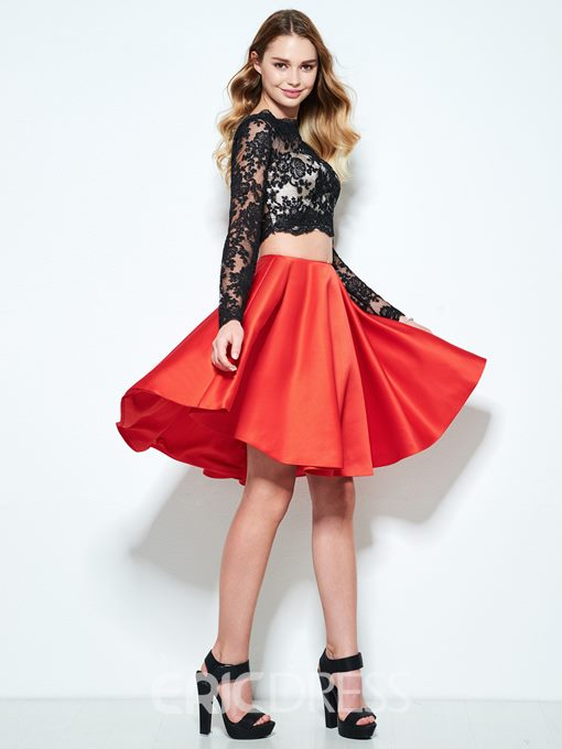 Ericdress A-Line Long Sleeves Lace Homecoming Dress