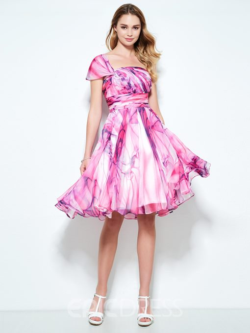 Ericdress A-Line One-Shoulder Cap Sleeves Pleats Printed Knee-Length Homecoming Dress