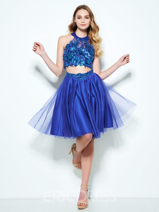 Ericdress Two Pieces Halter Appliques Sequins Knee-Length Homecoming Dress