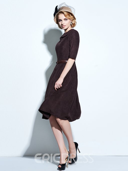 Ericdress Plain Lapel Belt Pleated Expansion Vintage Casual Dress