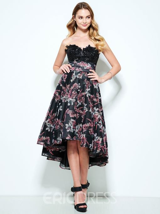 Ericdress A-Line Sweetheart Appliques Printed Sequins Asymmetry Homecoming Dress