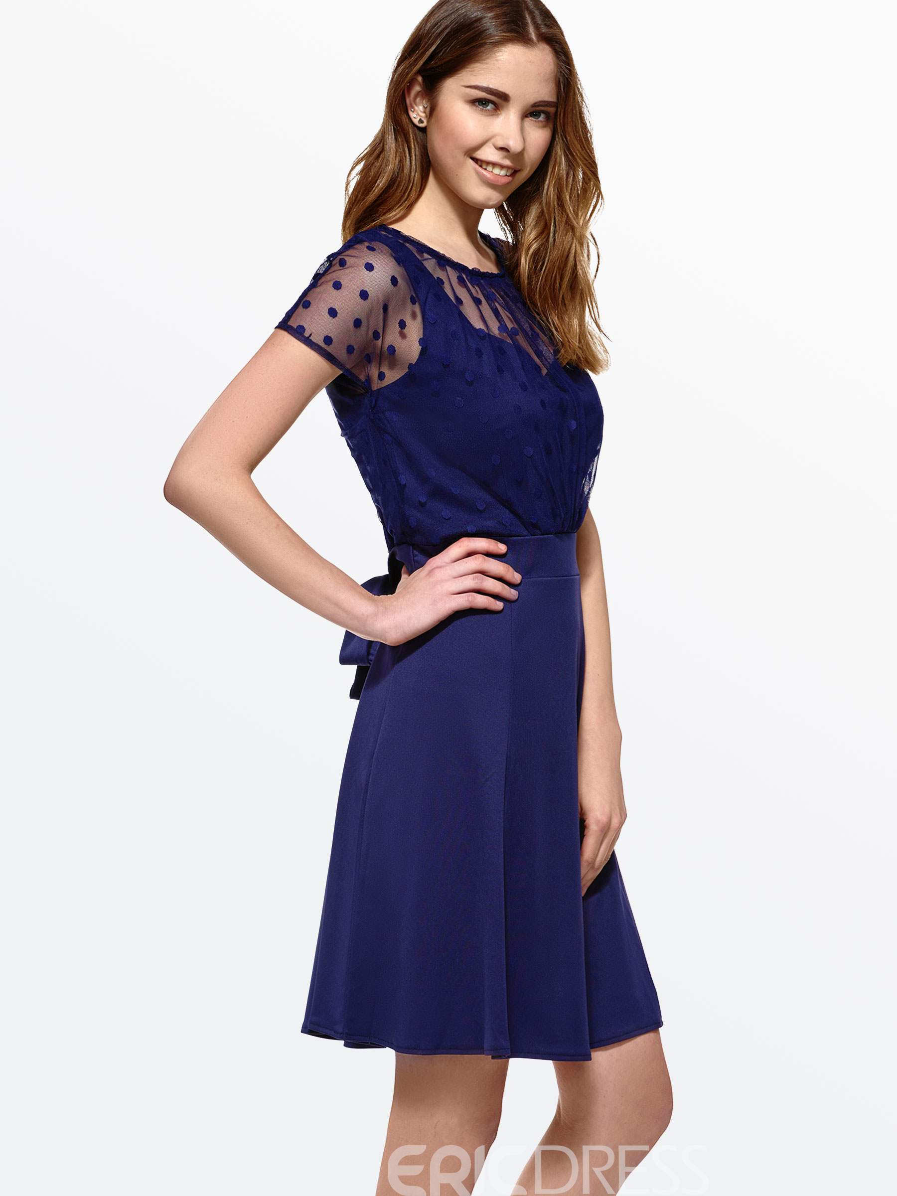 Ericdress Lace Mesh Casual Dress