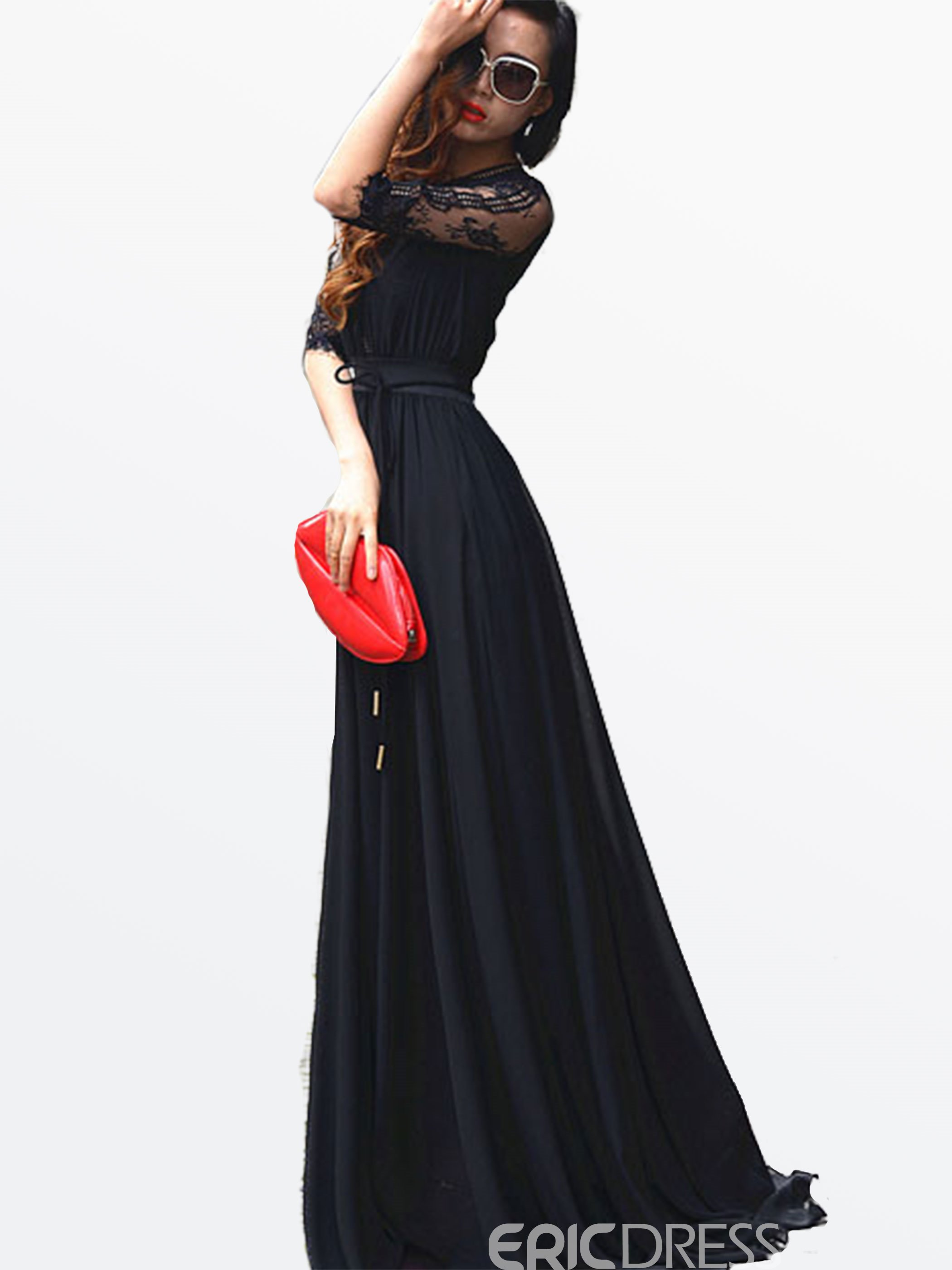 Ericdress Solid Color Lace Patchwork Lace-Up Half Sleeve Maxi Dress