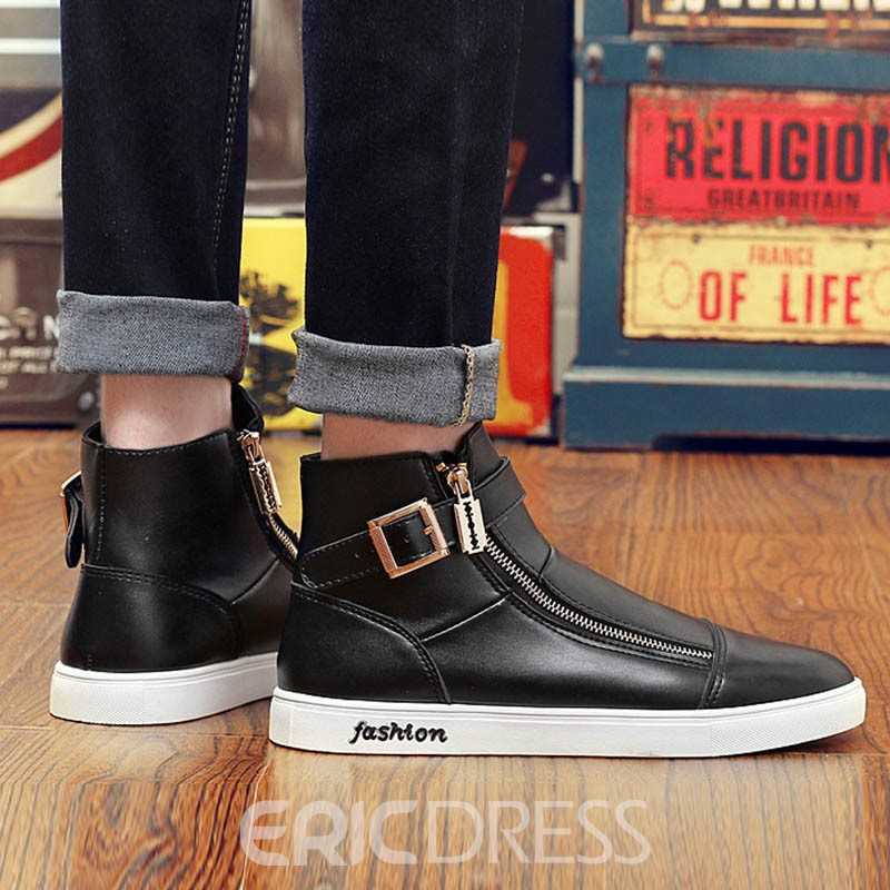 Ericdress Zipper Buckle High-Cut Men's Athletic Shoes