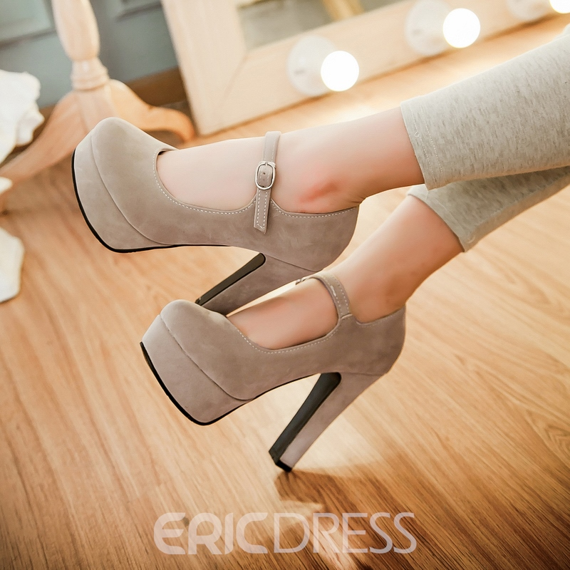 Ericdress Suede Round Toe Ankle Strap Pumps