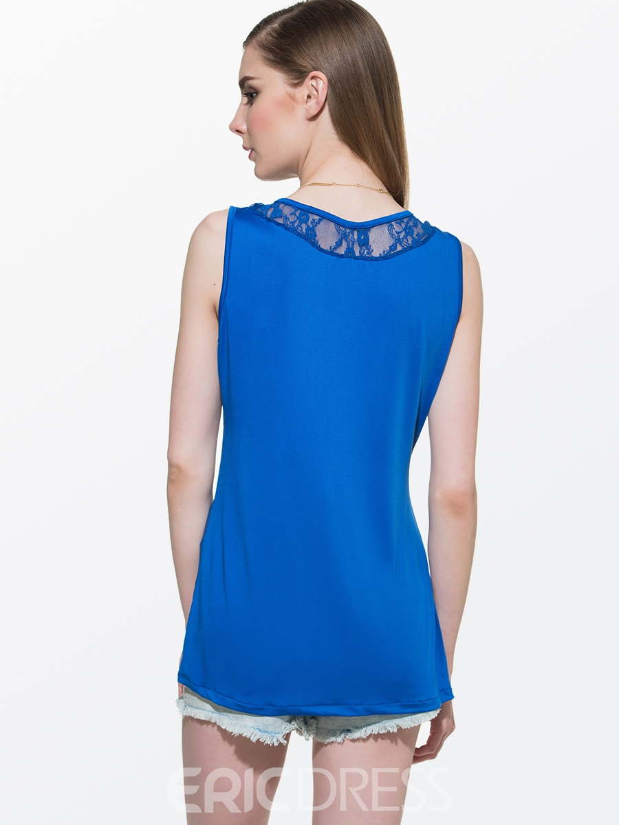 Ericdress Slim Lace Patchwork Pleated T-Shirt