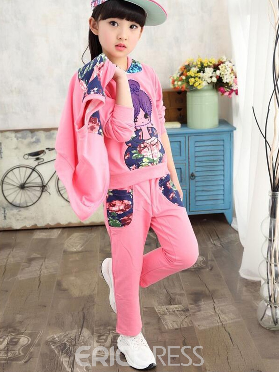 Ericdress Vest Patchwork Floral Printed Hooded Appliques Girls Outfits