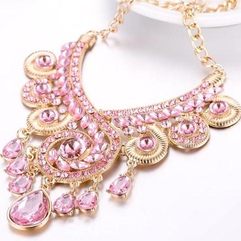 Ericdress Pink Rhinestone Glass Alloy Necklace