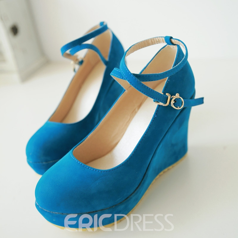 Ericdress Suede Round Toe Cross Strap Wedges