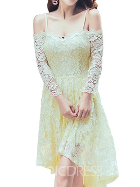 Ericdress Summer Sexy Spaghetti Strap Lace Asymmetric Maxi Dress