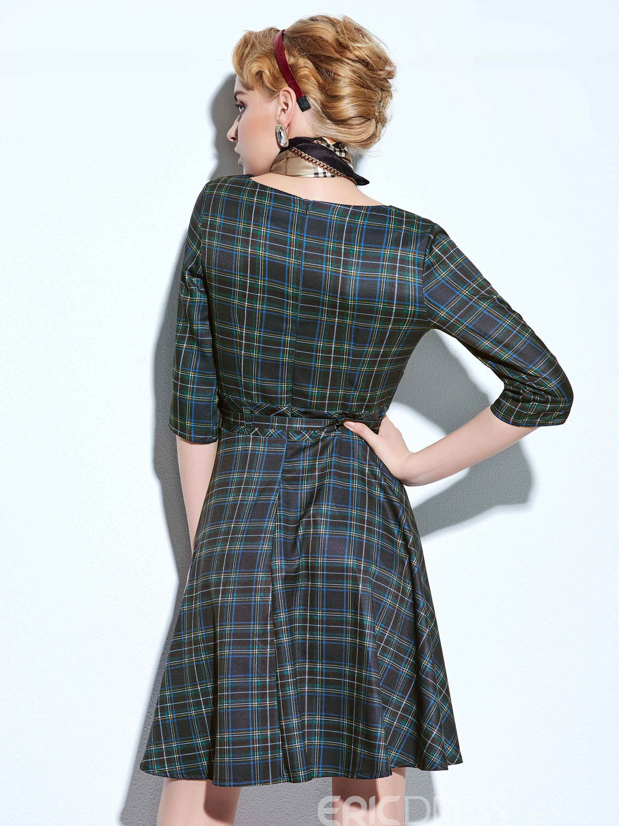 Ericdress Plaid Expansion Three-Quarter Sleeve Casual Dress