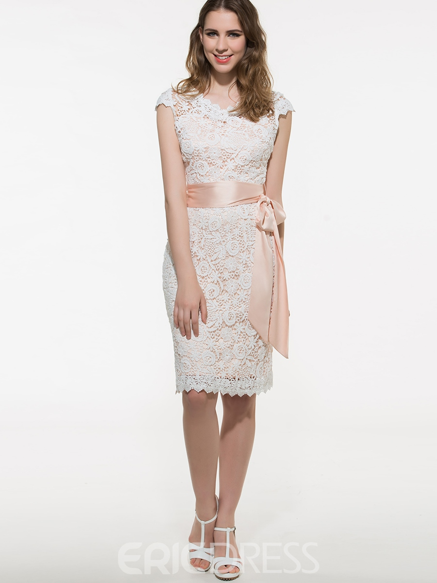 Ericdress Plain Patchwork Lace Dress