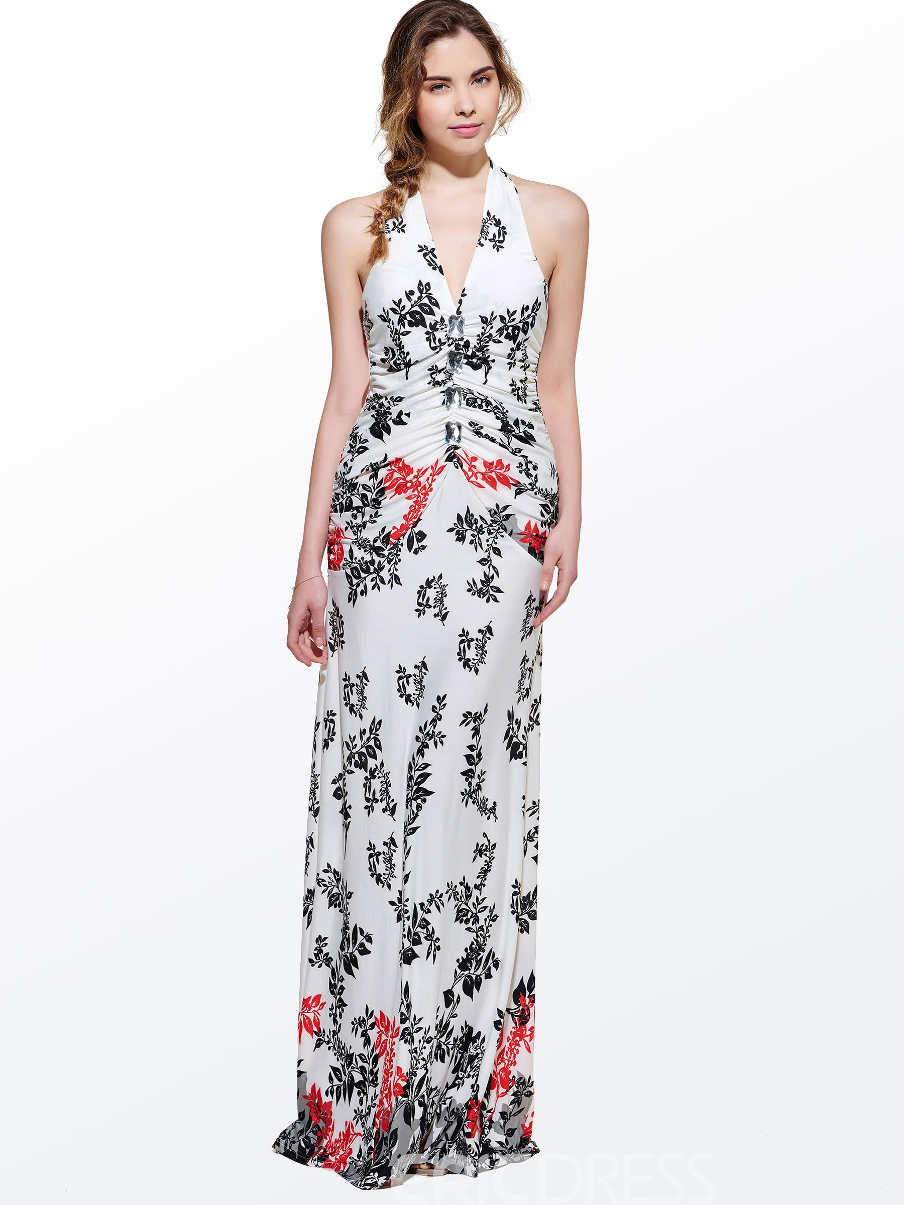 Modern Beautiful V-Neck Sleeveless Leaf Print Halter Maxi Dress