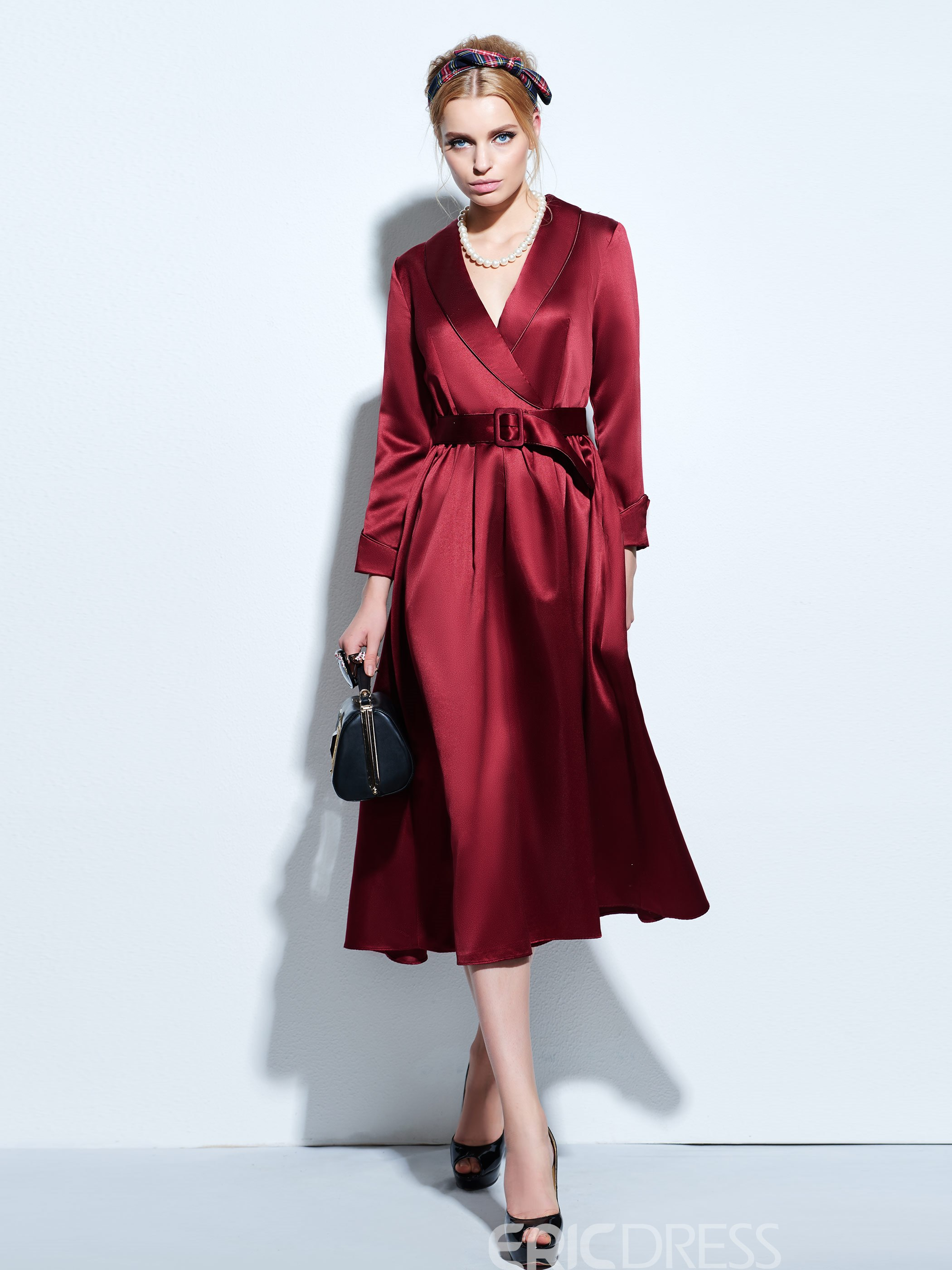 Ericdress Autumn V-Neck Long Sleeve Casual Dress
