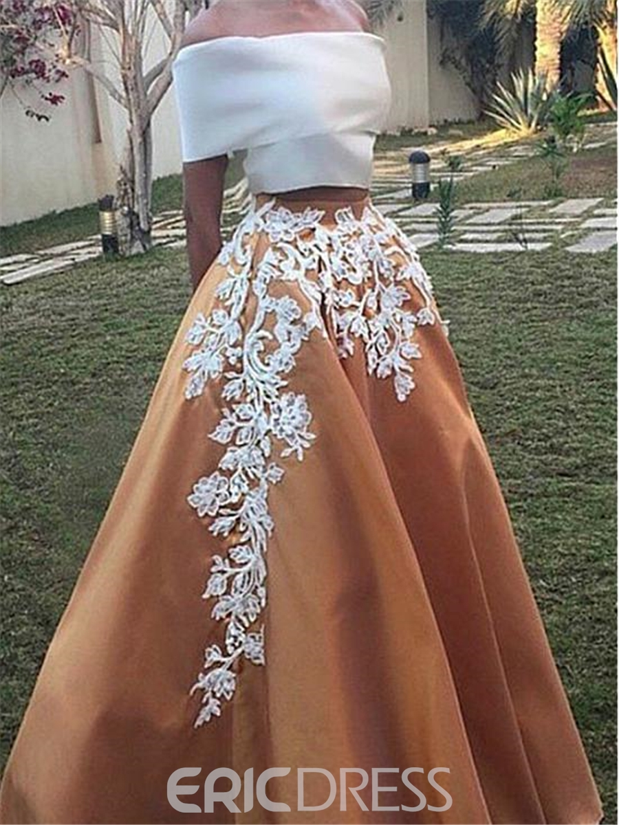 Ericdress A-Line Off-the-Shoulder Cap Sleeves Appliques Long Prom Dress