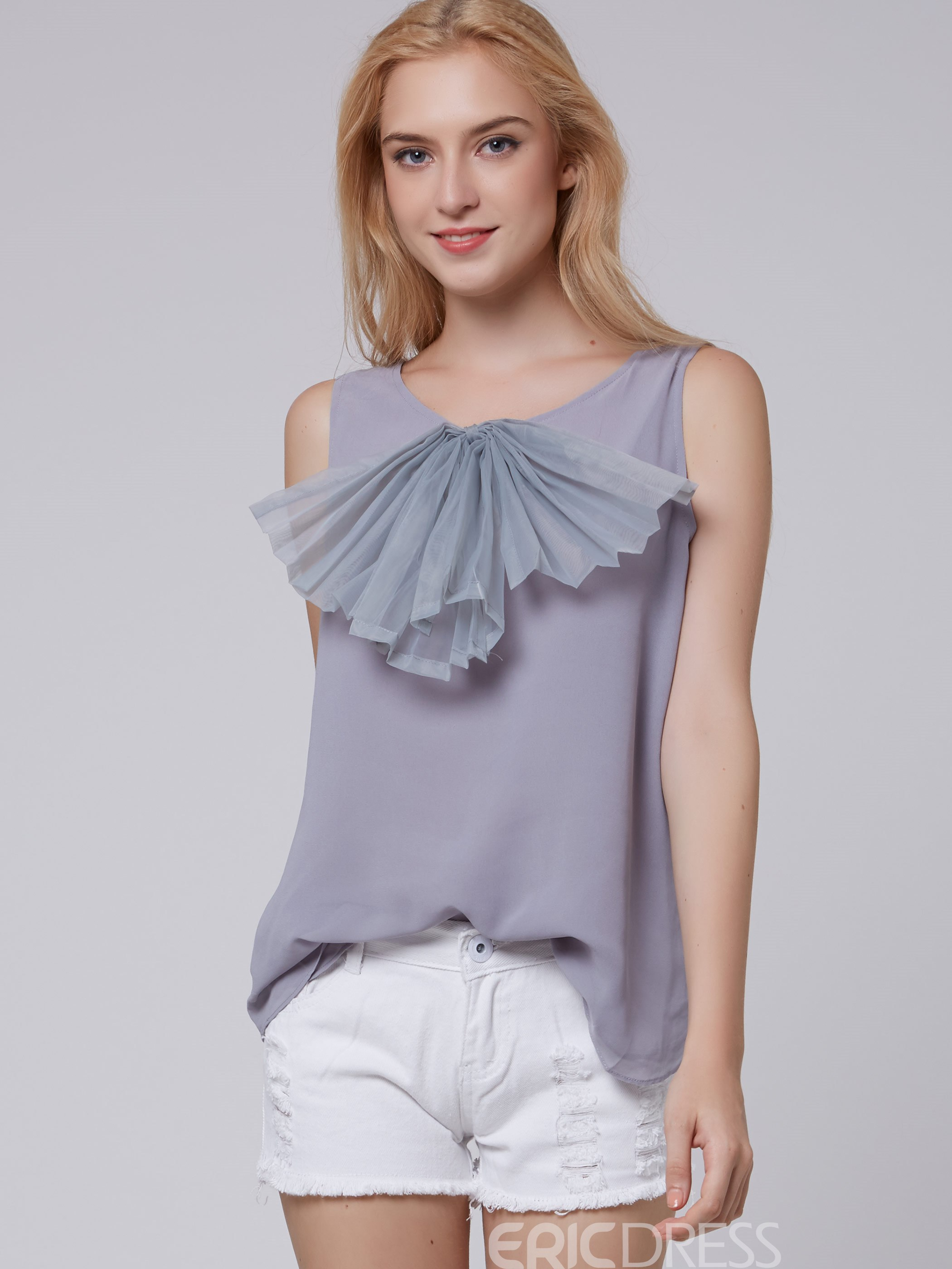 Ericdress Gray Applique Sleeveless Chiffon Blouse