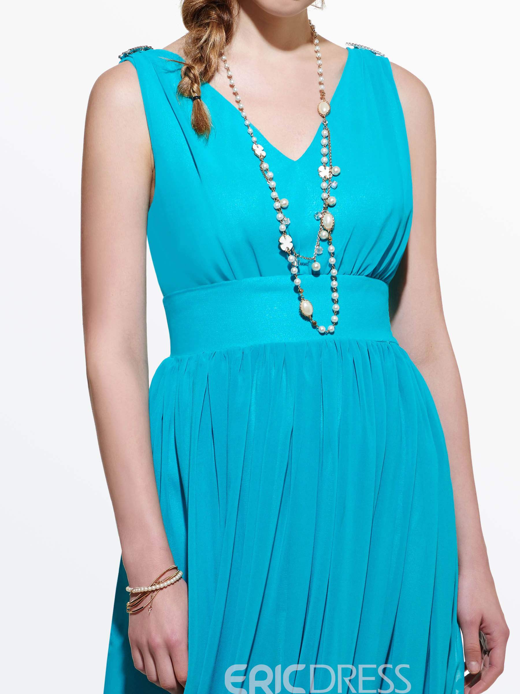 Ericdress Soild Color V-Neck Long Maxi Dress