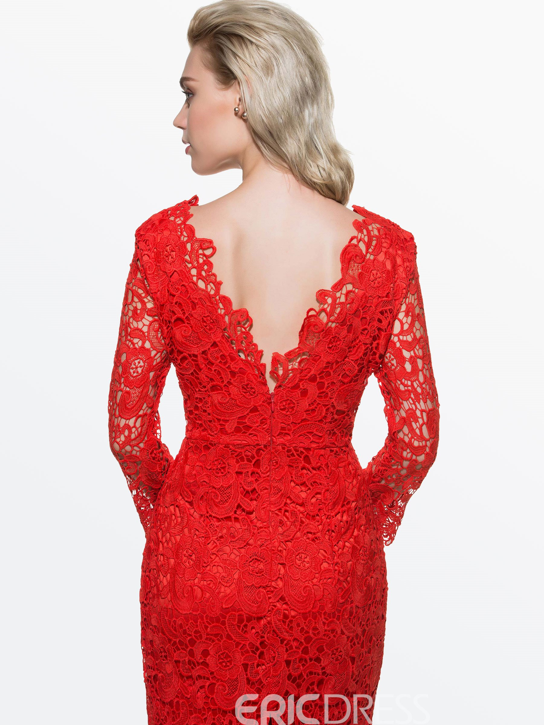 Ericdress Soild Color Long Sleeve Lace Dress