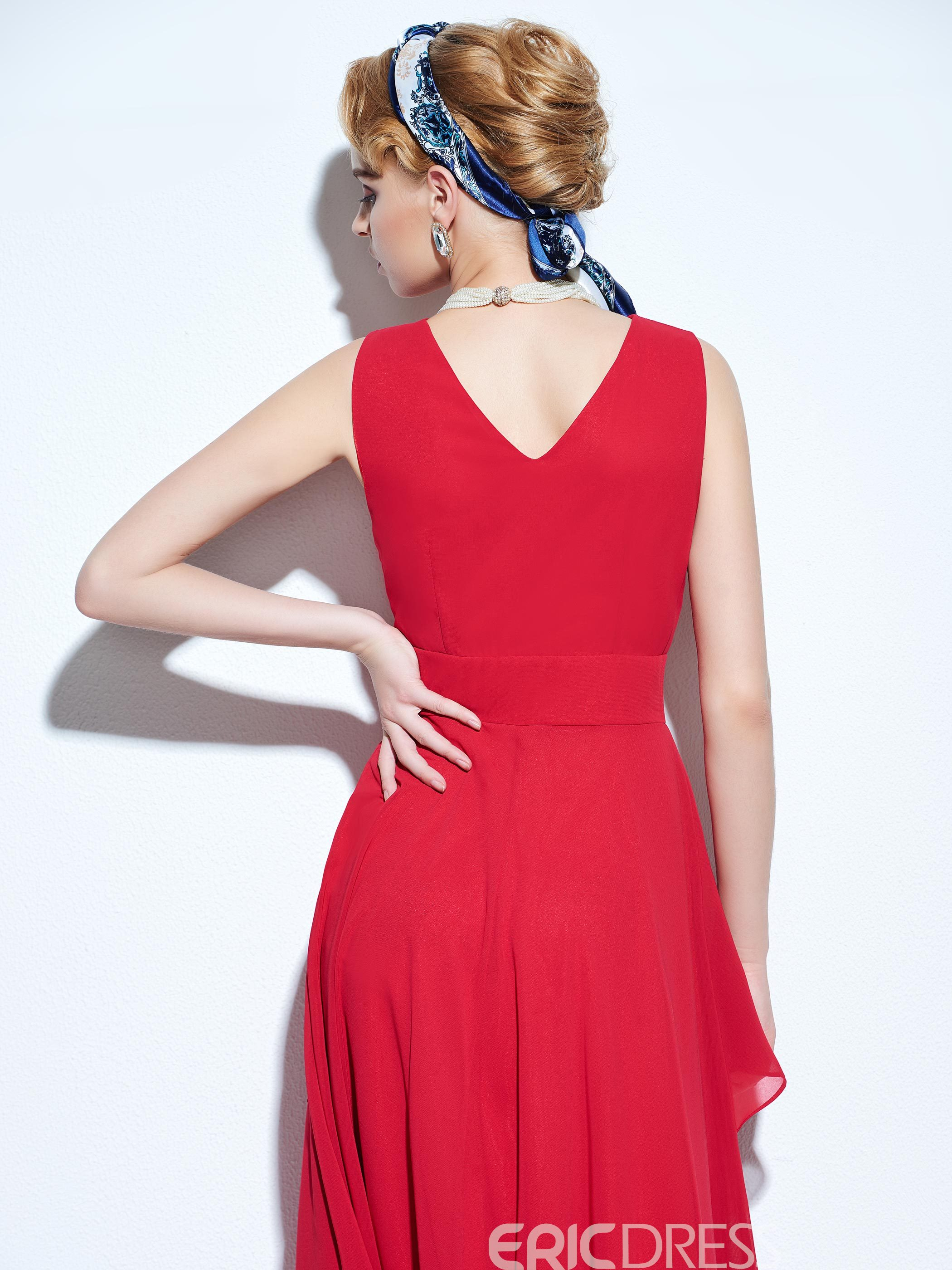Ericdress Solid Color Layered Expansion Maxi Dress