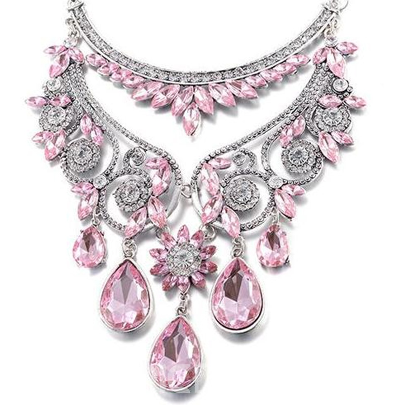 Ericdress Water Drop Shaped Rhinestone Glass Necklace