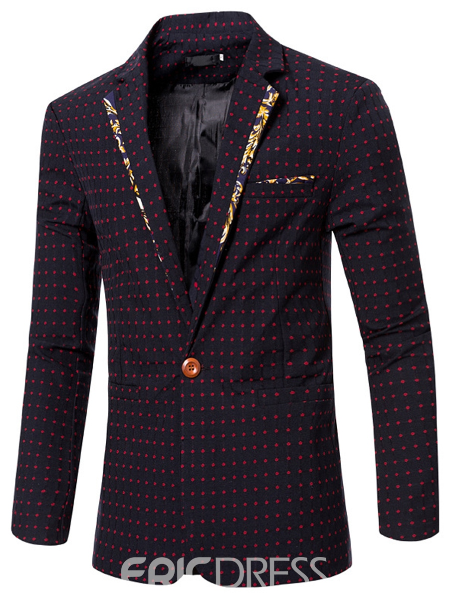 Ericdress Polka Dots Print Color Block Slim Men's Blazer